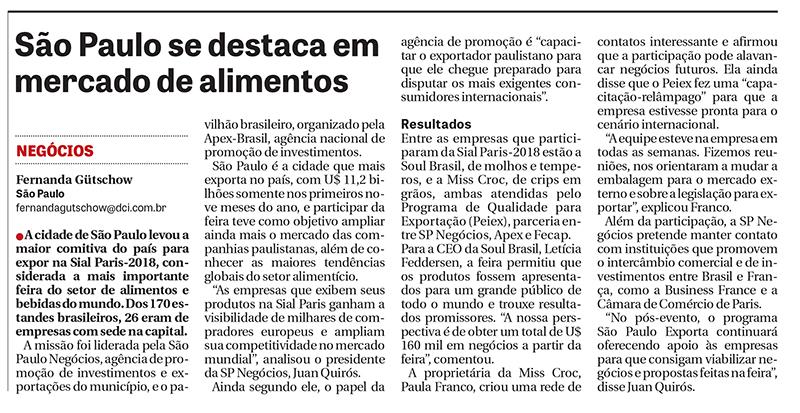 Empresas de São Paulo na Sial-Paris são destaque no DCI