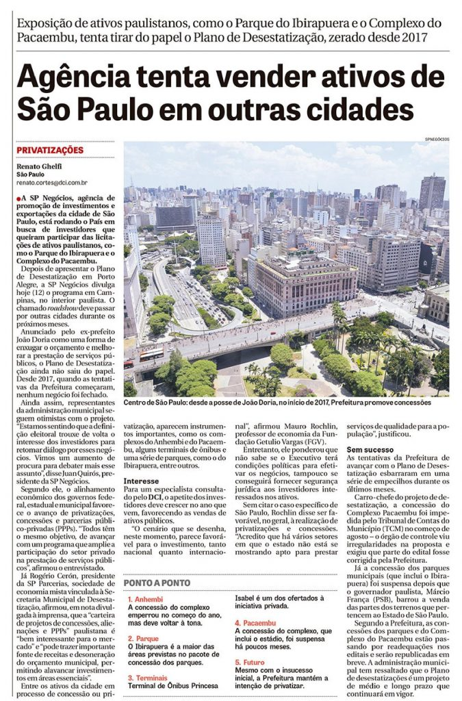 Roadshow do programa de desestatização de São Paulo é manchete no DCI 1