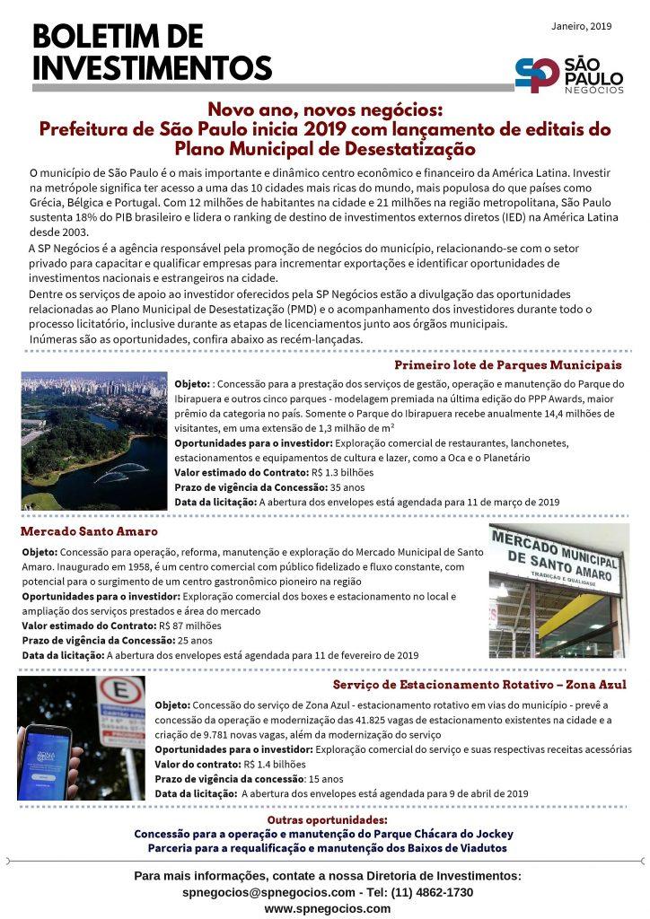 Novo Boletim de Investimentos da SP Negócios destaca licitações deste início de 2019 1