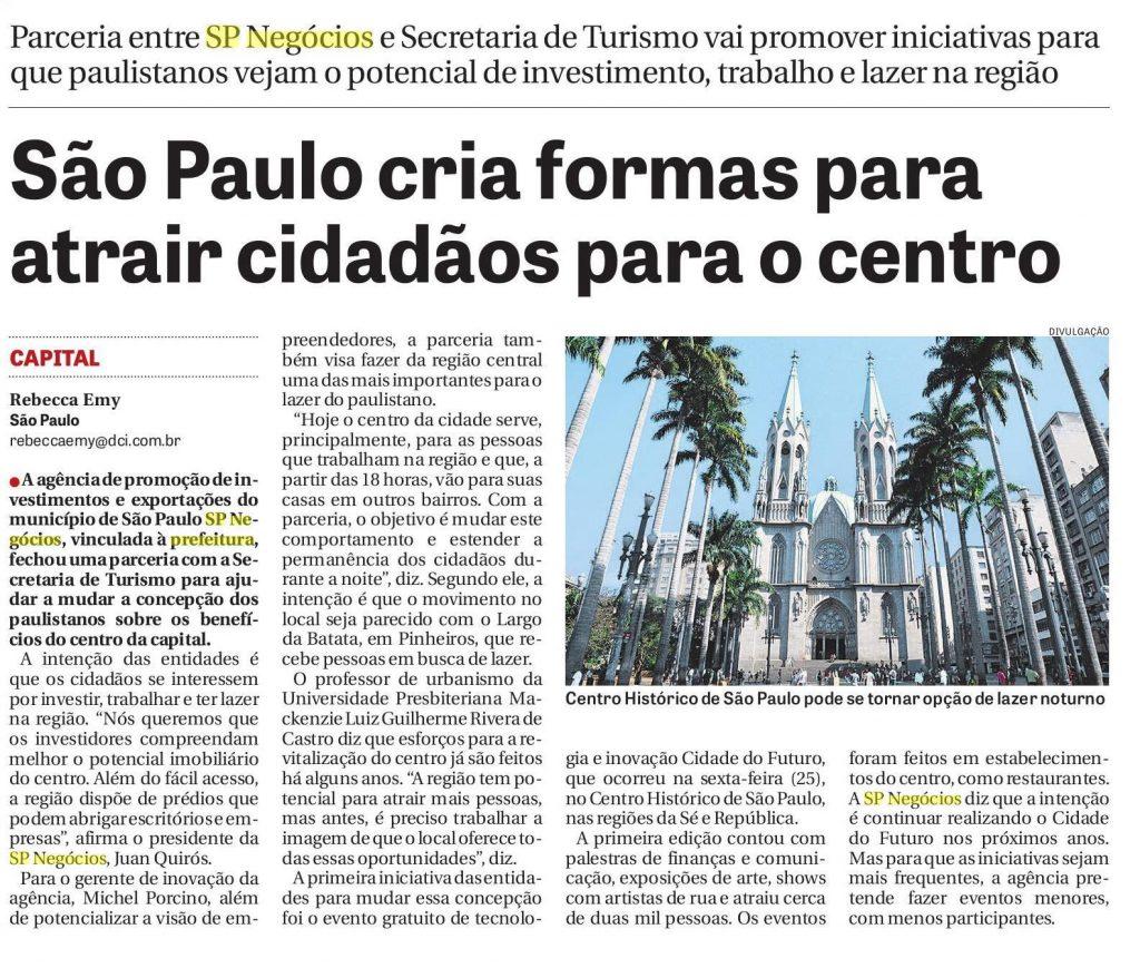 Participação da SP Negócios na revitalização do centro histórico é manchete no DCI 1