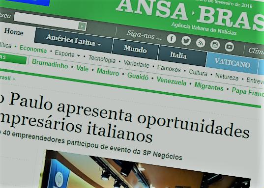 Apresentação de oportunidades de negócio em São Paulo a italianos é destaque na mídia