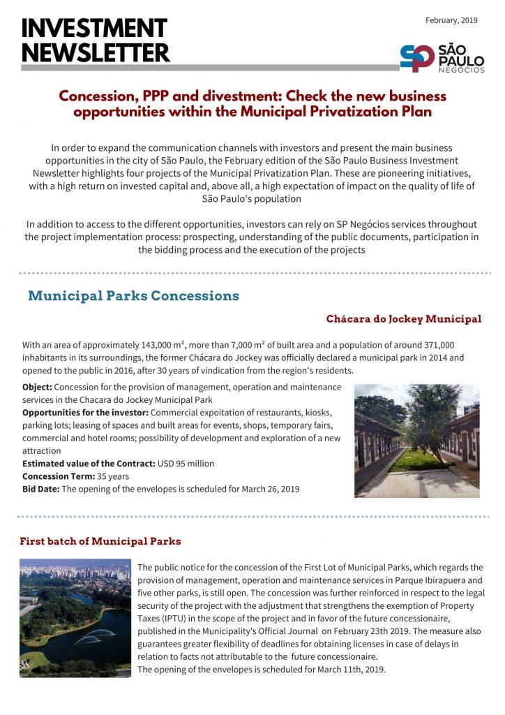 Boletim de Investimentos da SP Negócios destaca projetos do Plano Municipal de Desestatização 3