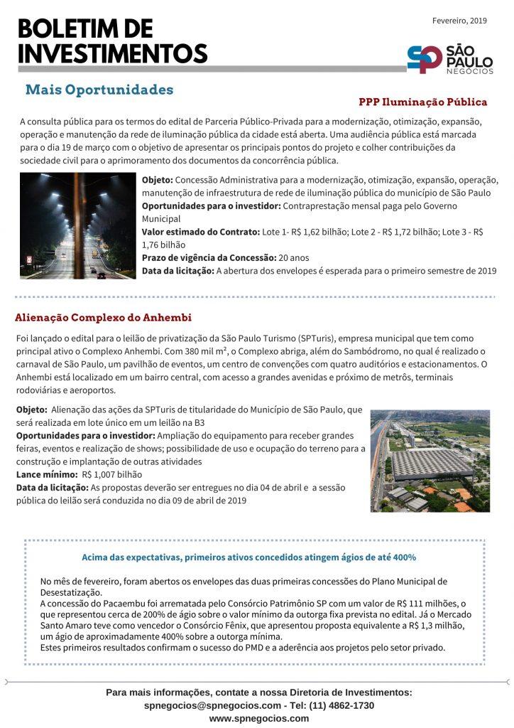 Boletim de Investimentos da SP Negócios destaca projetos do Plano Municipal de Desestatização 2