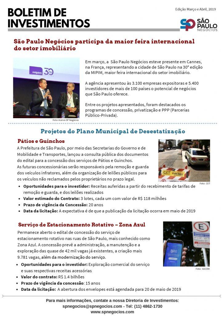 Boletim de Investimento da SP Negócios destaca o Programa de Atendimento ao Investidor e oportunidades de negócios no município