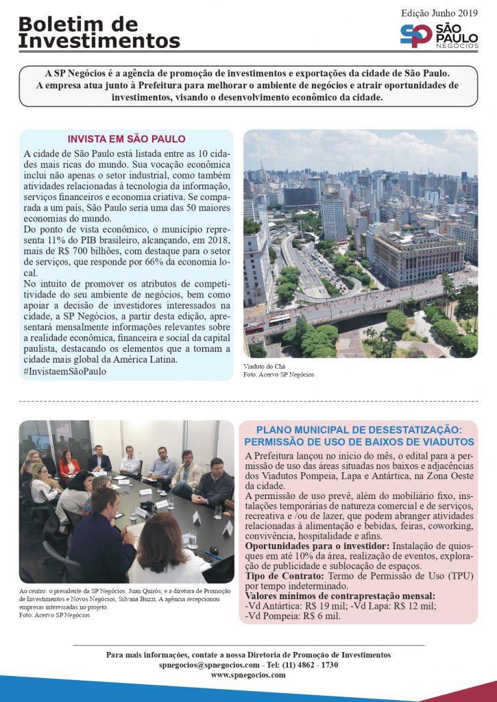 Boletim da SP Negócios destaca a permissão para o uso de Baixos de Viadutos. A nova oportunidade de investimento faz parte do Plano Municipal de Desestatização.