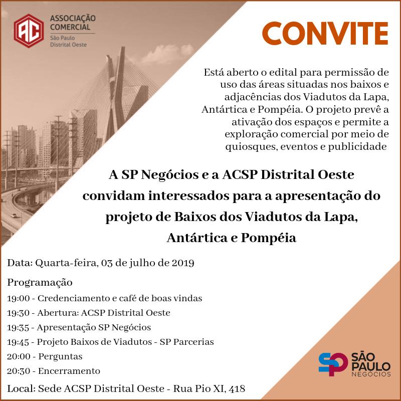 SP Negócios e Associação Comercial convidam interessados a participar de apresentação sobre projeto dos baixos dos viadutos Lapa, Antártica e Pompeia