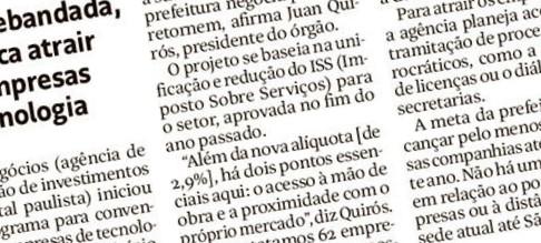 Folha de S. Paulo: SP Negócios negocia retorno de empresas de tecnologia