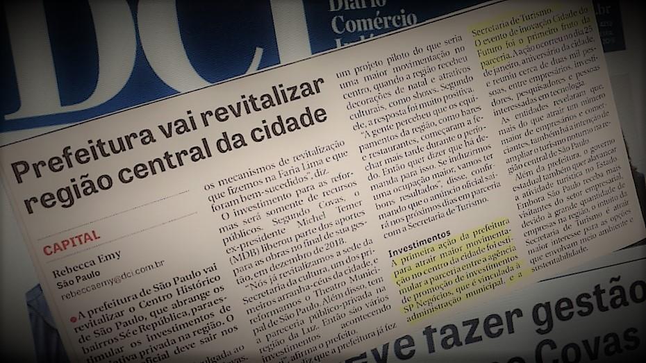 Jornal destaca revitalização do centro histórico e parceria SP Negócios/Turismo